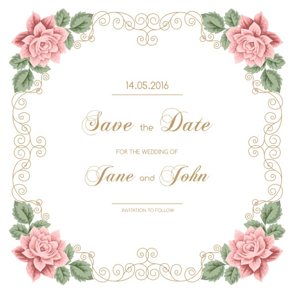 217173 vintage flower with wedding invitation vector 05
