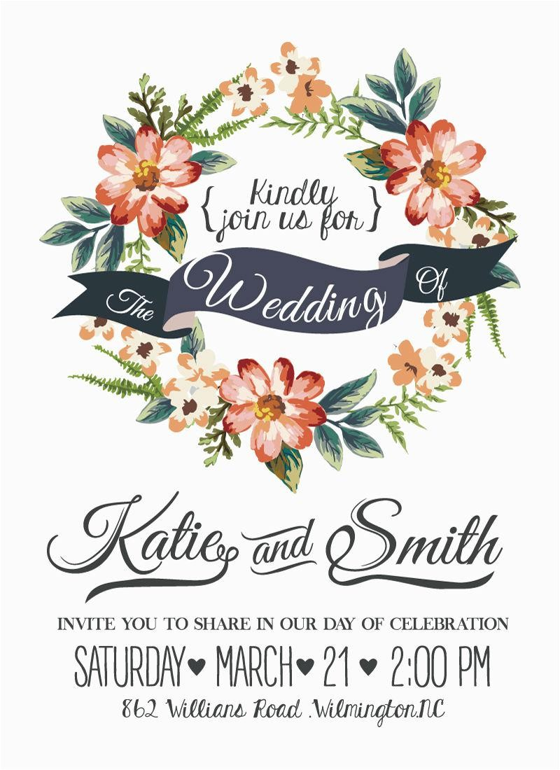watercolor flower wedding invitations vector material