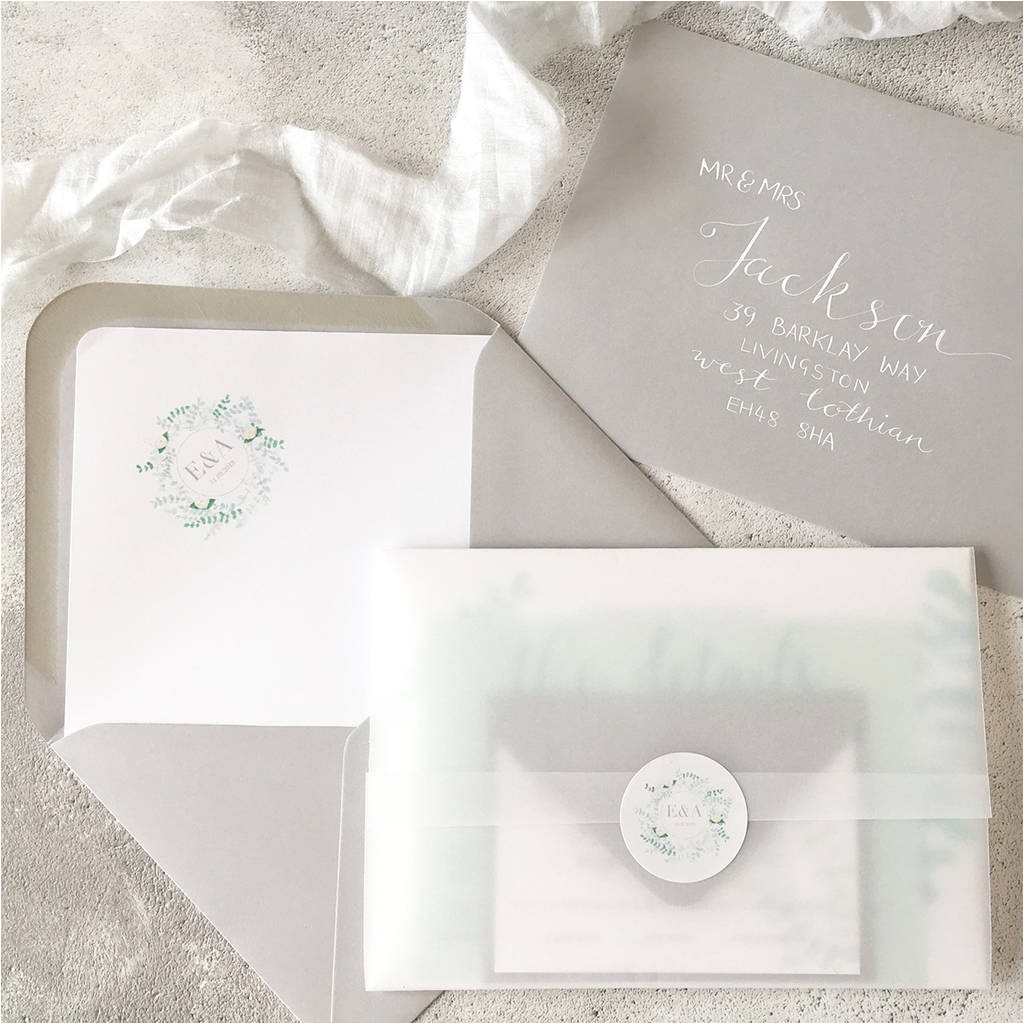 luxury eucalyptus wedding invitations with vellum wrap by su