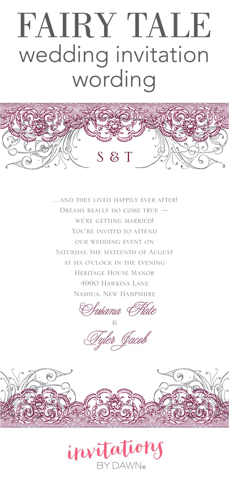 fairy tale wedding invitation wording