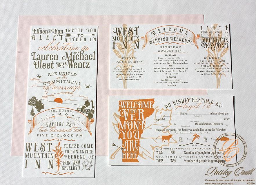 vintage vermont wedding invitations