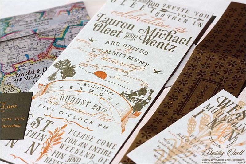 Vermont Wedding Invitations Paisley Quill Vintage Vermont Wedding Invitations