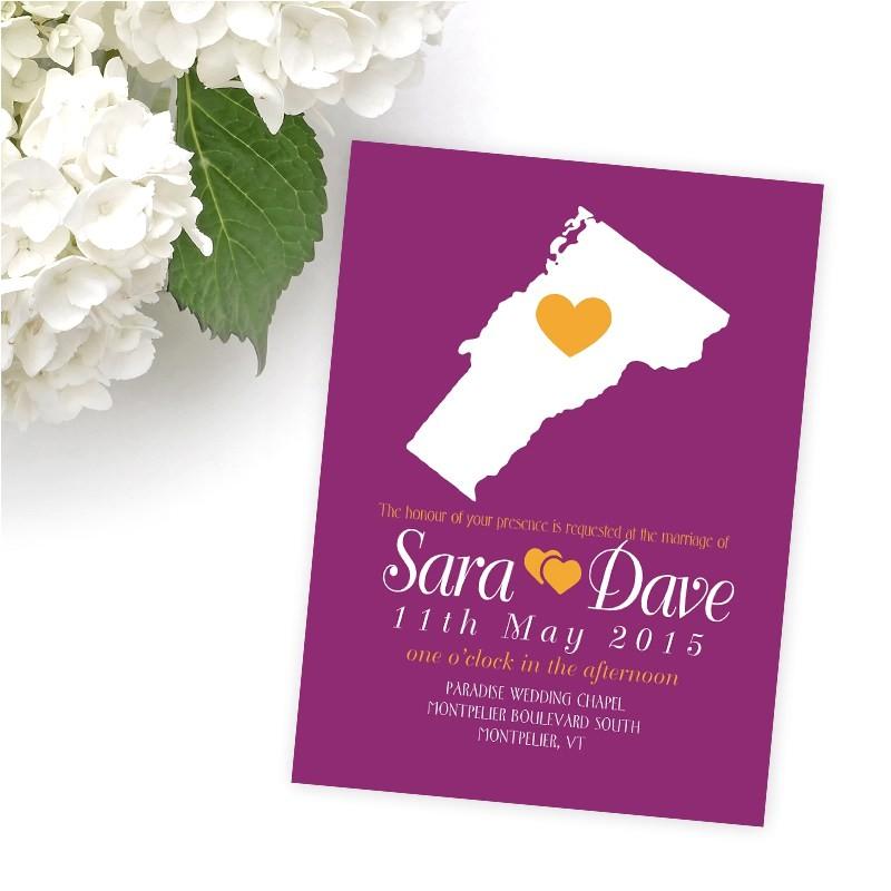 state wedding invitations vermont