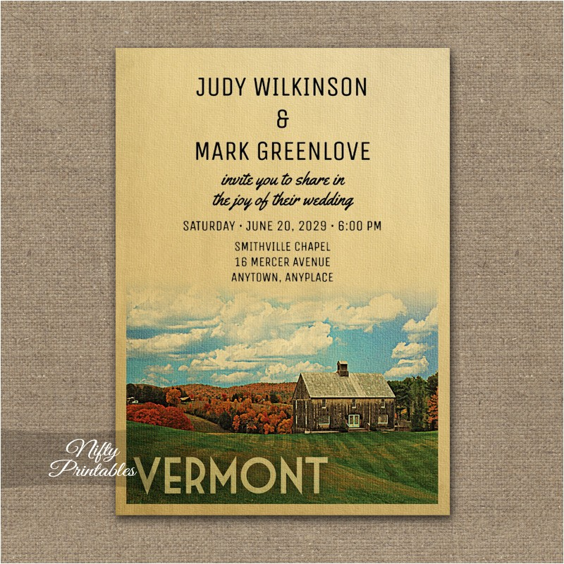 vermont wed inv printed
