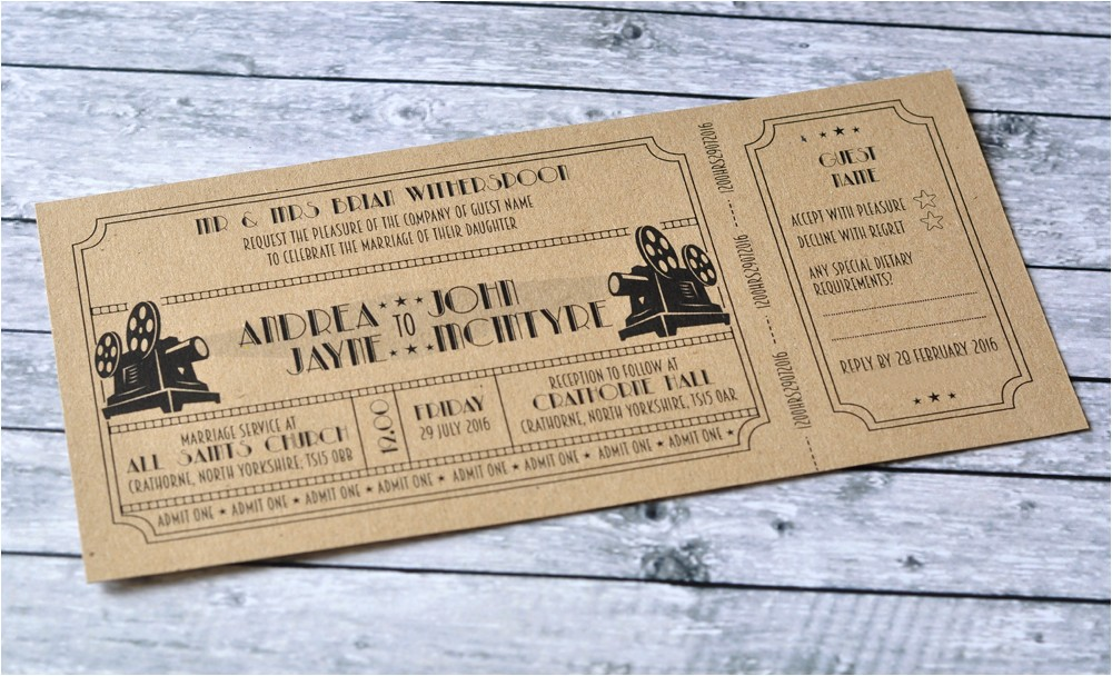 invitations vintage cinema ticket style wedding invitation