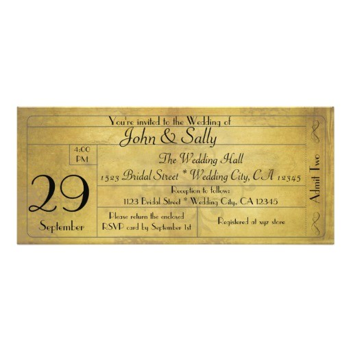 vintage old style wedding ticket invitation 161070164792669274