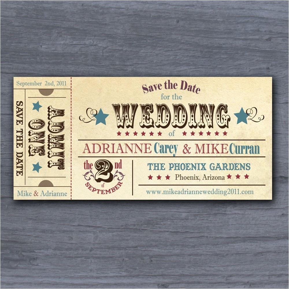 vintage rodeo ticket save the date wedding invitation sample