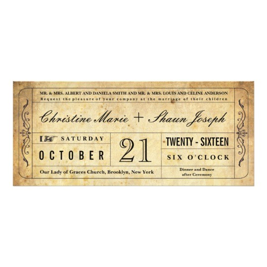 vintage style wedding ticket invitation 161973886391058951