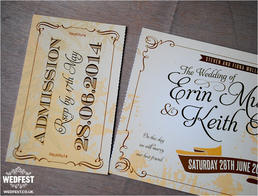 vintage ticket wedding invites
