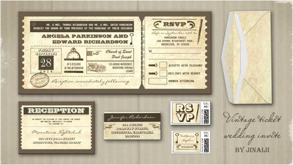 Vintage Ticket Style Wedding Invitations Vintage Wedding Wedding Invitations by Jinaiji Page 2