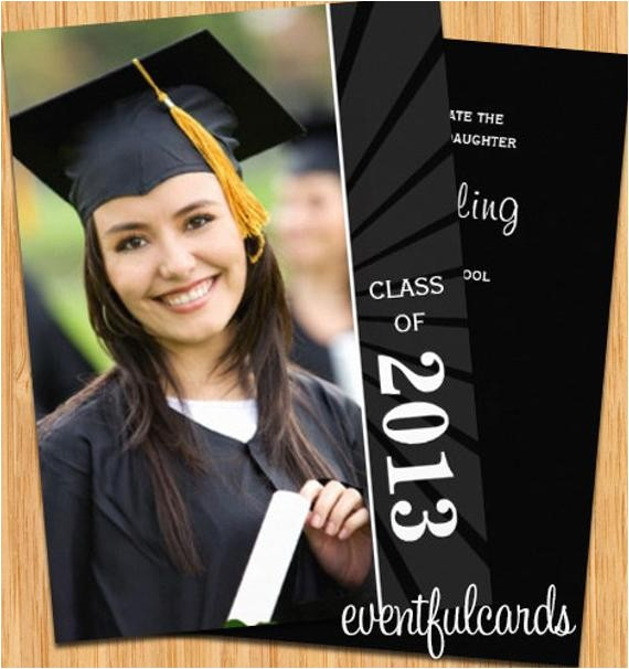class sunburst graduation invitation photo card
