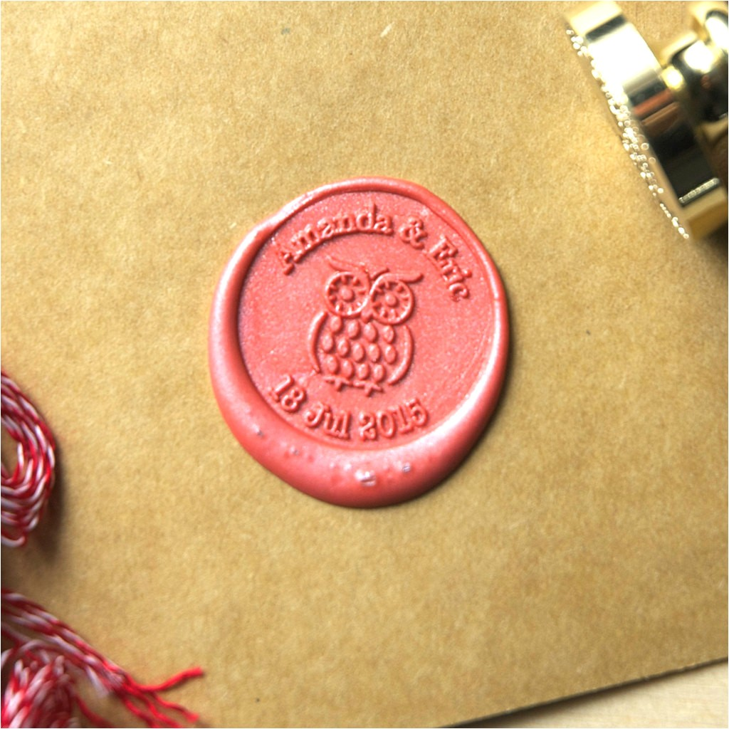 wedding invitation seal stamp owl wax