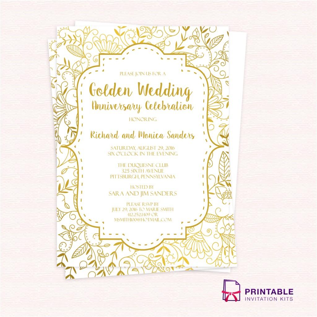 golden wedding anniversary invitation template