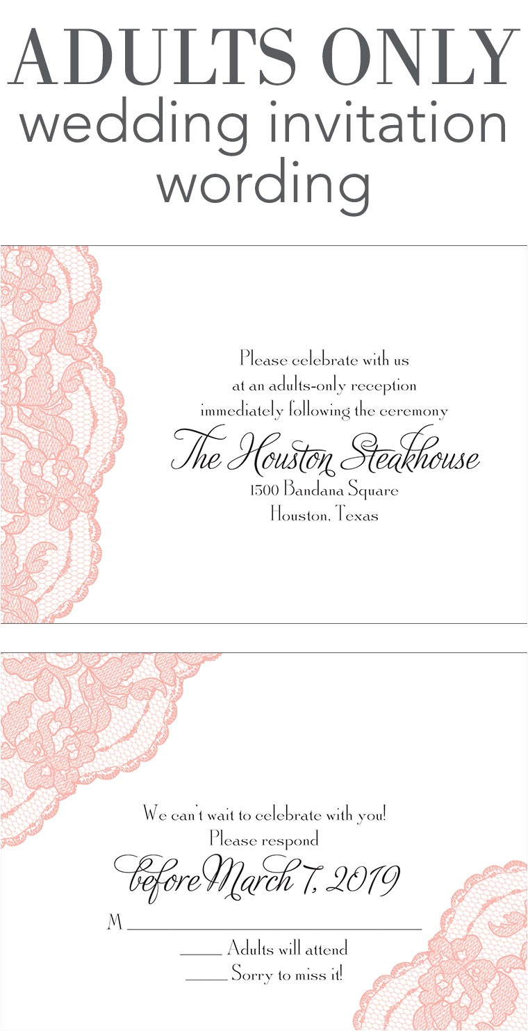 Wedding Ceremony Invitation Wording Adults Only Wedding Invitation Wording Invitations by Dawn