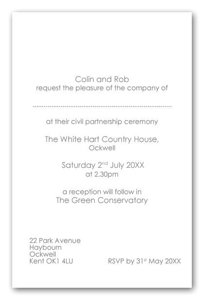 wedding invitation wording civil