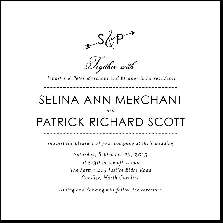 wedding invitation wording no parents