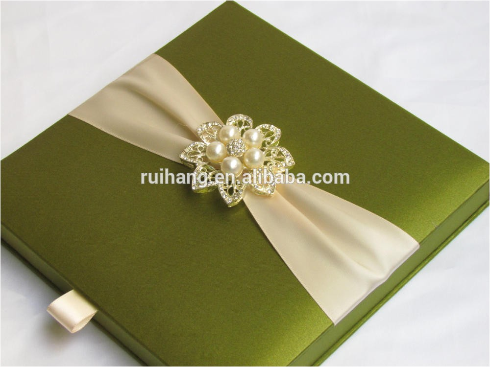 green luxury gatefold silk box wedding 60154212395