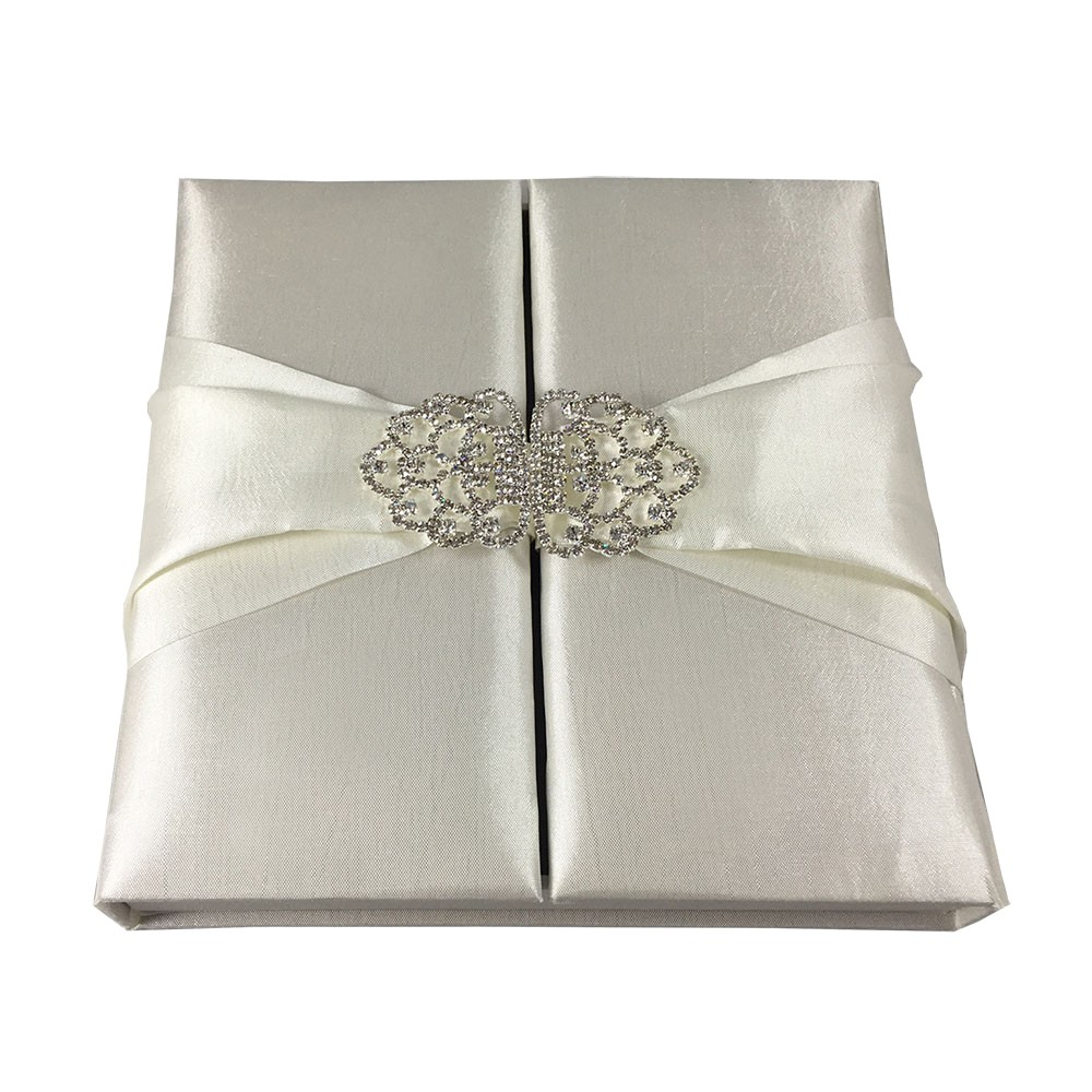 high quality taffeta silk covered wedding invitation box