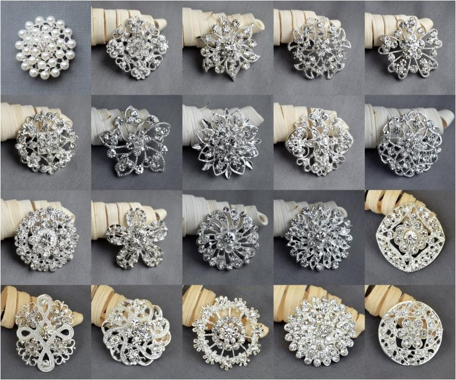 20 pcs vintage rhinestone brooch pearl crystal brooch wedding invitation cake decoration brooch bouquet kit wholesale lot br665