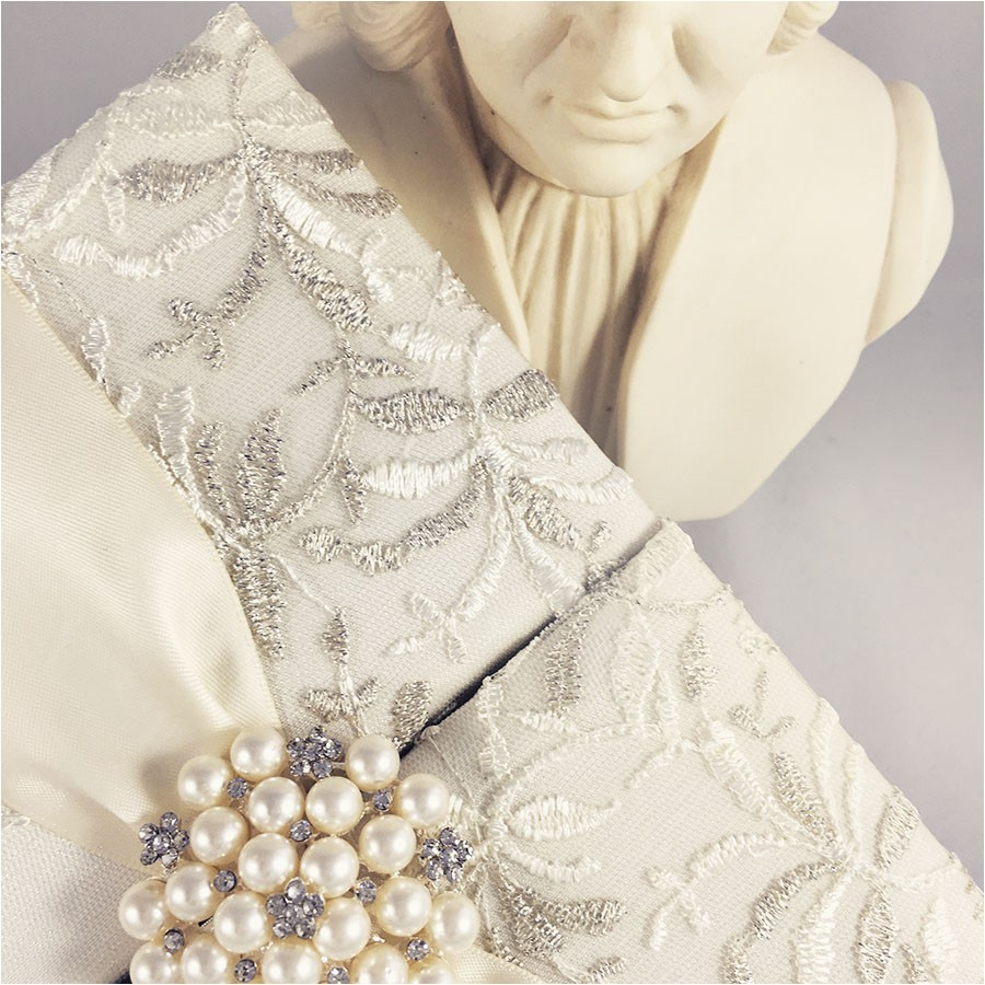 lace wedding invitations ivory gatefold box with large pearl brooch