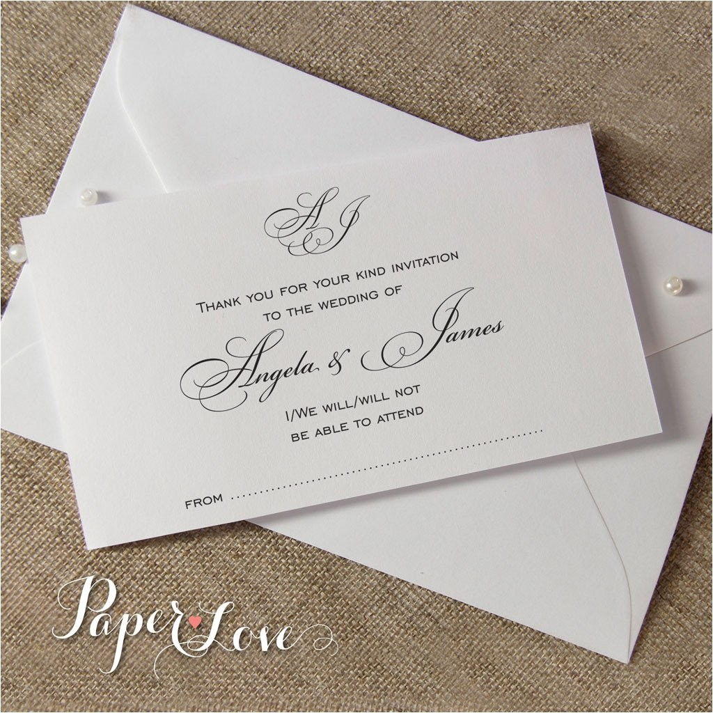 beautiful reply card with envelope