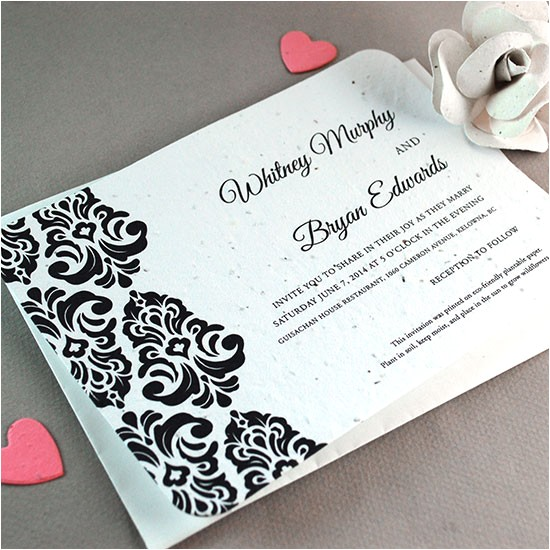 plantable classic damask wedding invitation