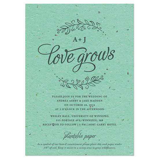 seeds of love plantable wedding invitation