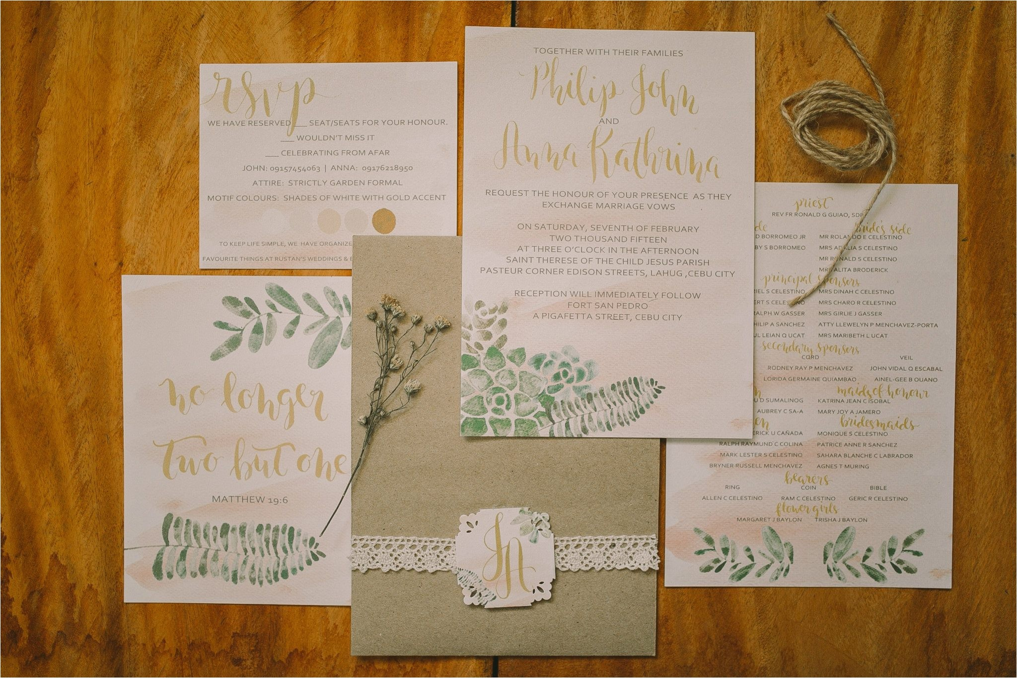 watercolor and calligraphy wedding invitation desi