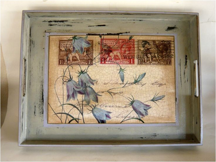 wedding invitation decoupage tray