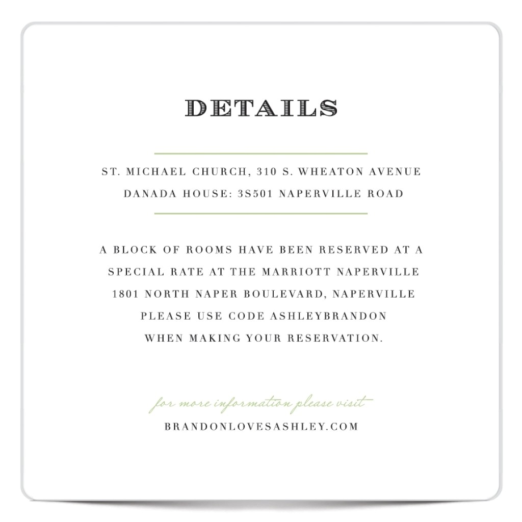 information card for wedding invitations
