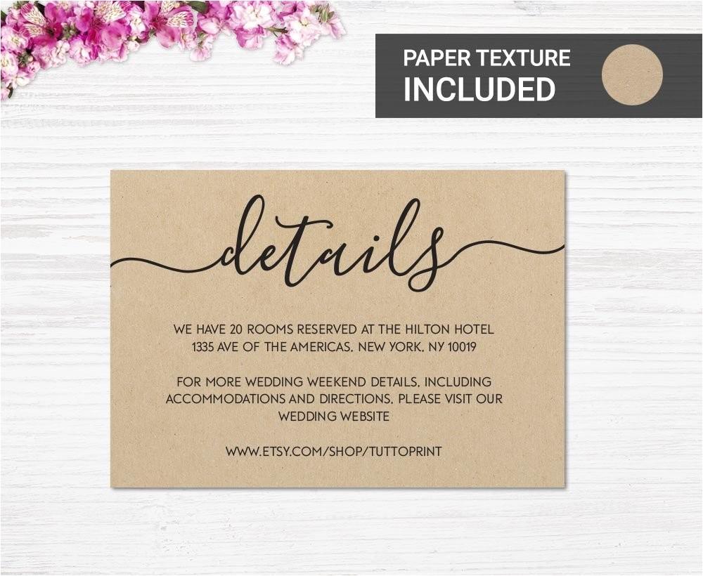 wedding details printable card on kraft