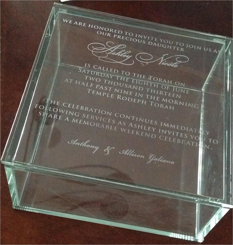 custom engraved glass box invitation