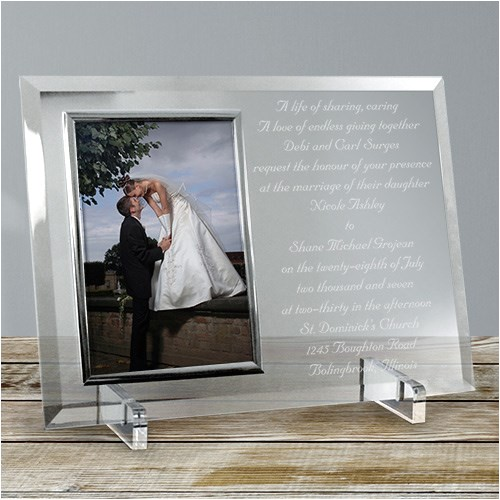 wedding invitation personalized beveled glass picture frame 8515858