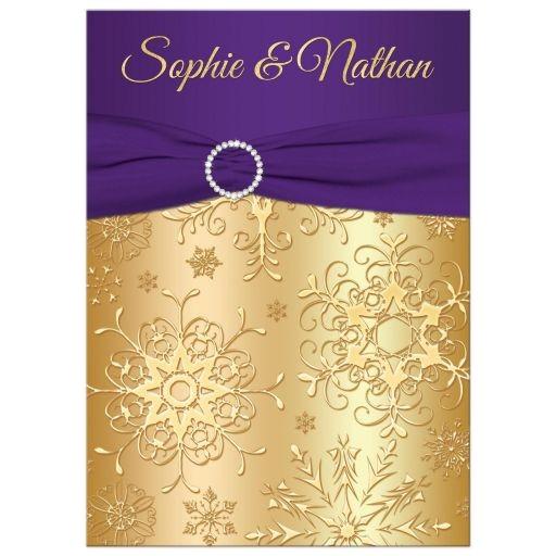 winter wedding invitation purple gold snowflakes printed ribbon jewels