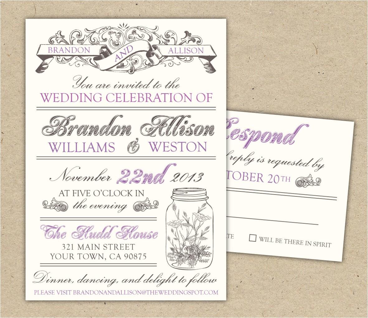vintage wedding invitations template