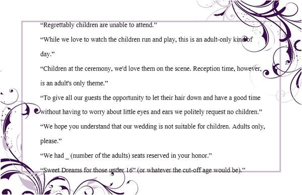 wedding invitation wording no children