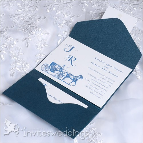 cheap vintage carriage blue pocket wedding invitations iwps081 p 448