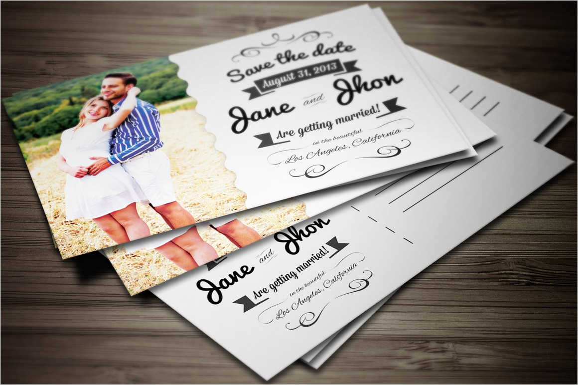 9818 elegant wedding invitation postcard