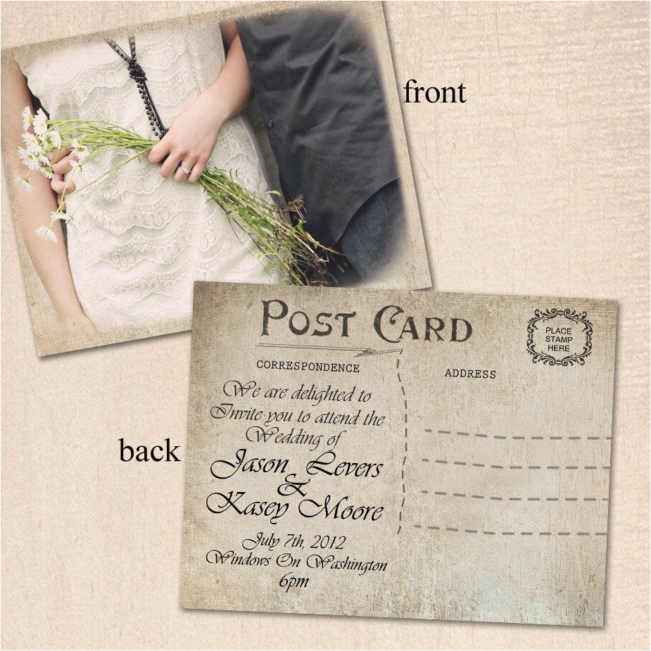 vintage wedding invitation post card