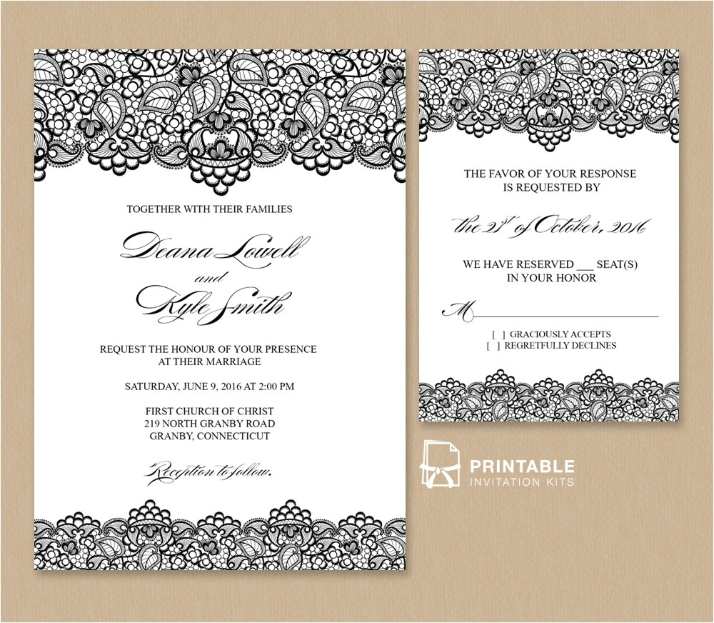 black lace vintage wedding invitation and rsvp