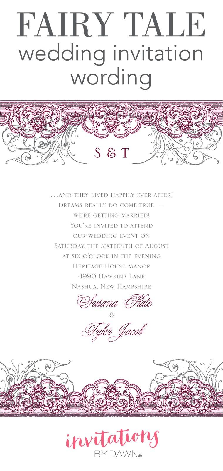 fairy tale wedding invitation wording