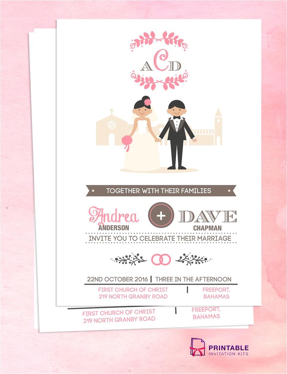 couple cartoon invitation
