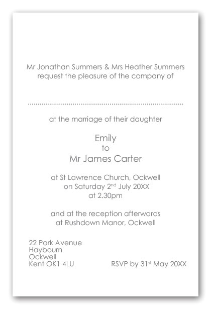 wedding invitation wording brides divorced parents