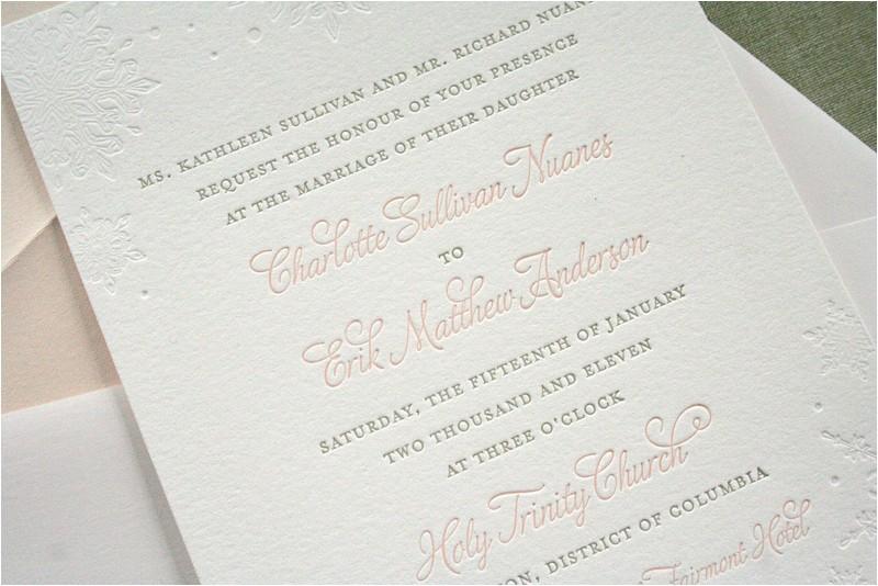 wedding invitation wording with church and reception best of charlotte eriks winter snowflake wedding invitations