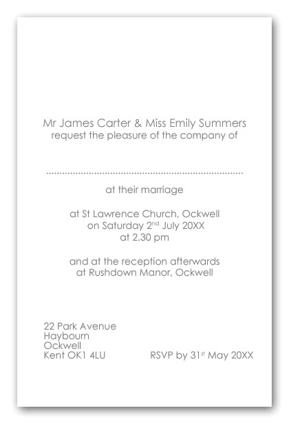 wedding invitation wording uk bride