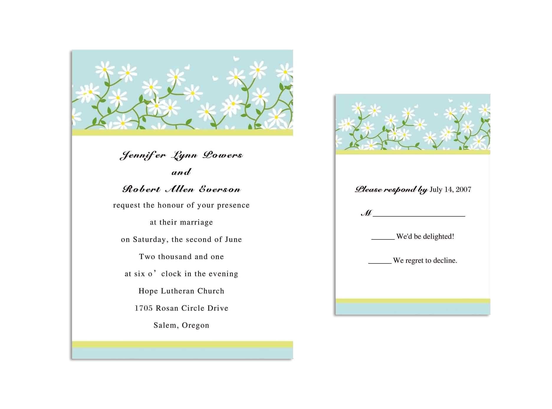 wedding invitations and response cards all in one