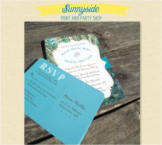 pretty peacock printed wedding invitation package
