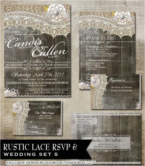 rustic lace wedding package rsvp invitation 2