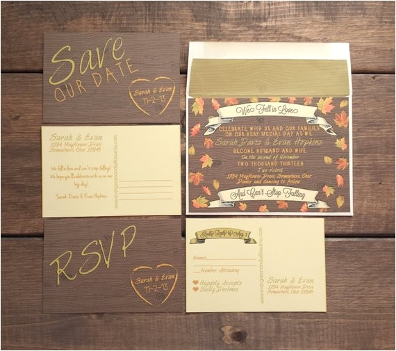 wedding invitation package autumn