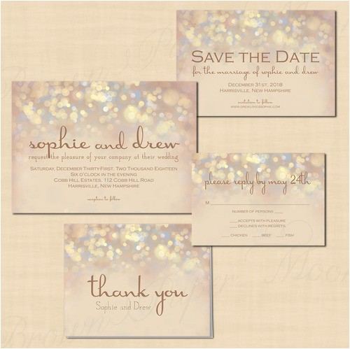 Wedding Invitations and Save the Dates Packages French Champagne Sparkles Text Editable Save the Date